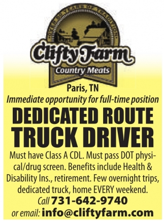 Dedicated Route Truck Driver