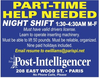 Part-Time Help Needed, Nigh Shift