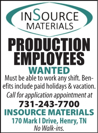 Production Employees Wanted